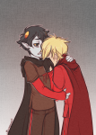 blimpgato blood_aspect crying dave_strider godtier hug karkat_vantas knight palerom red_knight_district redrom shipping time_aspect