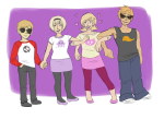arm_in_arm dave_strider dirk_strider heart holding_hands mailmummy rose_lalonde roxy_lalonde starter_outfit strilondes strong_tanktop