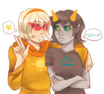 arm_around_shoulder arms_crossed glasses_added glassesswap godtier rose_lalonde seeing_terezi seer terezi_pyrope wingpie word_balloon