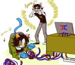 blush computer lemon_lime music_note nepeta_leijon no_hat shipping sollux_captor sumssang text