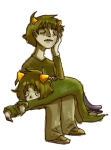 karkat_vantas katnep nepeta_leijon no_hat on_stomach shipping sitting sketcheddy sleeping