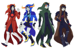 aradia_megido blackoutballad blood_aspect breath_aspect doom_aspect godtier karkat_vantas knight mage maid non_canon_design page sollux_captor tavros_nitram time_aspect