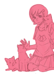 kneeling meowcats monochrome roxy_lalonde sangcoon solo starter_outfit