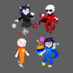 beta_kids breath_aspect carnivorouscormorant chibi dave_strider dogtier godtier heir jade_harley john_egbert knight light_aspect rose_lalonde seer space_aspect time_aspect timetables warhammer_of_zillyhoo witch