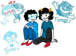 ! art_dump blush detective_duo fudgeapple heart inexact_source jane_crocker no_glasses redrom seeing_terezi shipping terezi_pyrope text