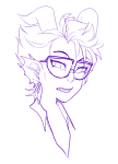 artist-in-training eridan_ampora headshot lineart monochrome solo