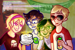 apple_juice beta_kids dave_strider food jade_harley john_egbert littlebirdkisses red_baseball_tee rose_lalonde starter_outfit