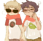 crying dave_strider diabetes hammertime holding_hands john_egbert nymphicus red_baseball_tee redrom shipping starter_outfit