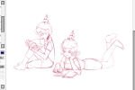book deleted_source hat loki on_stomach rose_lalonde roxy_lalonde sitting sketch wip