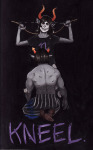 blood bow equius_zahhak gamzee_makara kneeling no_shirt stjernfelt text