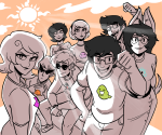 all_kids alpha_kids beta_kids clouds dave_strider dirk_strider dogtier jade_harley jake_english jane_crocker john_egbert rose_lalonde roxy_lalonde scruffypalmtrees starter_outfit