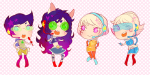 chibi crossover dogtier girls godtier jade_harley jane_crocker life_aspect light_aspect maid modtier mookie rogue rose_lalonde roxy_lalonde seer space_aspect space_channel_5 void_aspect witch wonk