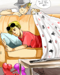 bro clubs couch dave_strider derangedcrave diamond heart katana no_glasses red_record_tee sleeping smuppets spade