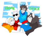 beta_kids breath_aspect dave_strider dogtier godtier heir holding_hands huge jade_harley john_egbert knight light_aspect rose_lalonde seer space_aspect the_word_homestuck time_aspect witch