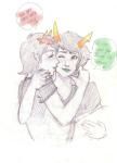 blush carrying fashion_police heart herooflife kanaya_maryam kiss no_glasses redrom shipping terezi_pyrope word_balloon