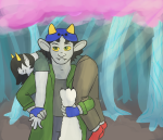carrying fanfic_art insecureauthor nepeta_leijon no_glasses scratch_and_sniff shipping terezi_pyrope trees