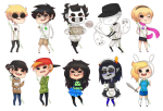 adventure_time arms_crossed beta_kids blush chibi crossdressing dave_strider dress_of_eclectica ed_edd_n_eddy equius_zahhak ghosts highviscosity jade_harley john_egbert off rose's_pink_scarf rose_lalonde saucy_maid_outfit squiddles starter_outfit sweat watermark wonk word_balloon