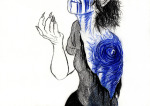 amputation blood gore head_out_of_frame highlight_color pencil solo the-nothing-maker vriska_serket