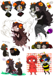 2spooky aradia_megido aradiasprite art_dump back_angle bee_outfit bees blush dead_aradia ghosts grubs headshot heart hug mind_honey music_note nymphicus psionics redrom rule63 shipping sollux_captor sprite word_balloon
