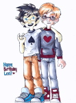 arm_around_shoulder broblerones dave_strider freckles heart_shirt john_egbert spade_shirt