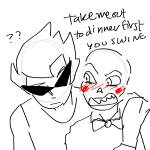 ? arm_around_shoulder blush caliborn dirk_strider dirkuu hottang shipping sketch wip