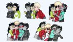 adorabloodthirsty arms_crossed blush coolkids dave_strider dogtier hug jade_harley karkat_vantas kats_and_dogs kiss licking mislamicpearl multishipping palerom redrom shipping spacetime terezi_pyrope wonk
