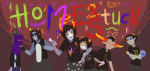 :o) arm_around_shoulder blakkensoul boys bucket equius_zahhak eridan_ampora gamzee_makara honk huge karkat_vantas psionics sollux_captor tavros_nitram text the_word_homestuck towel
