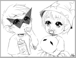 apple_juice babies dave_strider diabetes grayscale lineart request rose_lalonde shortcakeliz siblings:daverose squiddles