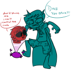 4ppl3b3rry crab_communicator dave_strider dragon_cape godtier knight limited_palette scalemate_boxers seeing_terezi terezi_pyrope time_aspect word_balloon