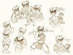 art_dump avatar_the_last_airbender crossover dirk_strider gaulllimaufry lil_cal monochrome no_glasses sketch