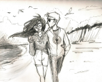 arm_around_shoulder aspect_hoodie dave_strider grayscale jade_harley ocean redrom seagulls shipping space_aspect spacetime sweetjegus