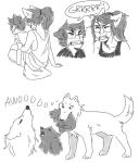 animal_ears animalstuck art_dump carrying dogtail dogtier grandma grayscale jade_harley jake_english mashedpootatoes word_balloon