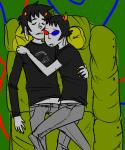 couch karkat_vantas ketchup_and_mustard milkwhiterabbit shipping sleeping sollux_captor