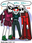 ? dave_strider dirk_strider godtier heart_aspect huge knight prince terezi_pyrope tetratheripper text time_aspect word_balloon