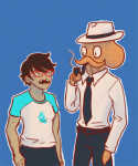 casual_heiress_ensemble crossover dad hswc_2014 jane_crocker mustachioedoctopus octodad poirot_mustache smoking
