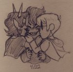 adorabloodthirsty blush dave_strider godtier karkat_vantas kiss knight multishipping pencil red_knight_district redrom shipping smiling_karkat terezi_pyrope the-pastel-peach time_aspect