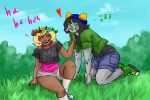 blush casual catsandcorn fashion flower_crown flowers going_rogue heart kneeling nepeta_leijon redrom request roxy_lalonde shipping sitting text