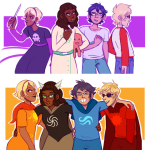 arm_around_shoulder beta_kids black_squiddle_dress breath_aspect dave_strider dogtier godtier heir jade_harley john_egbert knight knitting_needles light_aspect red_baseball_tee reminders rose_lalonde seer space_aspect squiddles starter_outfit tieknots time_aspect witch