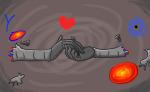 amputation aradia_megido aradiabot coloroflull heart holding_hands jadebot kid_symbol redrom shipping transisters zodiac_symbol