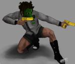 dirkpee gasmask golden_guns jake_english kneeling skull_suit solo