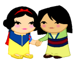 cancersyndrome crossover disney holding_hands image_manipulation mulan shipping snow_white sprite_mode