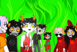 8-xenon-8 aradia_megido blood dave_strider godtier green_sun half_ghost kanaya's_red_dress kanaya_maryam karkat_vantas knight legislacerator_suit light_aspect maid no_glasses panel_redraw rainbow_drinker rose_lalonde seer sollux_captor terezi_pyrope time_aspect