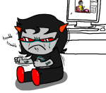 arm_around_shoulder computer crying dancestors dream_ghost heart lemonsnout lipstick_stains meenah_peixes redrom scalemates shipping sitting skellyanon terezi_pyrope thumbs_up