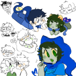 art_dump blush clothingswap glasses_added godtier heart heir hug john_egbert krib33 nepeta_leijon no_glasses no_hat on_stomach redrom shipping teacup_cakes
