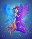 bard gamzee_makara godtier hug juggalovania kiss kylee light_aspect midair rage_aspect redrom shipping thief vriska_serket