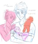 asherdashery babies carrying dave_strider dirk_strider rose_lalonde roxy_lalonde sketch strilondes