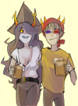 arm_around_shoulder double_trouble fuoco hat no_glasses redrom shipping sollux_captor vriska_serket