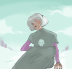 black_squiddle_dress cythman land_of_light_and_rain rose_lalonde sitting solo twitter