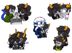 :o) art_dump blush carrying coffin_bone dancestors dream_ghost godtier head_on_lap heart horcrux horuss_zahhak iamnotamuffin kurloz_makara mituna_captor nepeta_leijon no_glasses no_hat palerom redrom reverse_hug rogue roxy_lalonde shipping stable_wine sweat sweat_bee void_aspect