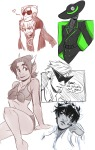 art_dump body_modification bq bro crown dave_strider heart karkat_vantas no_glasses no_hat red_knight_district redrom seeing_terezi shipping snowman snowstucked swimsuit terezi_pyrope word_balloon